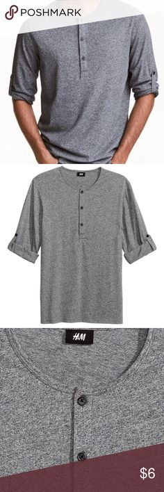 ✨Men's H&M Dark Grey Marl Henley✨ A very necessary item. Roll tab, long sleeves. Lightweight and soft. Small tear behind tag, otherwise in good used condition. Sold out online. Size S H&M Shirts