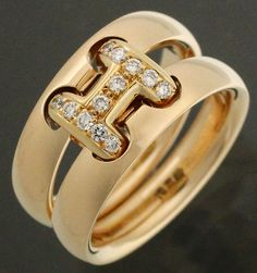 【 #HERMES #エルメス #K18YG #ダイヤ オランプリング #イエローゴールド サイズ51】二本のリングをダイヤのあしらわれた「H」金具で連結させたユニークなデザインの「 #オランプリング 」。画像をクリックして頂きますと、詳細ページをご覧頂けます。 #セブンマルイ質店 TEL06-6314-1005