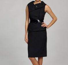 Tahari ASL Women's Black Jacquard Belted Skirt Suit