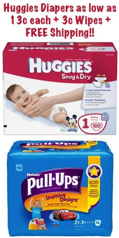 Huggies Diapers as low as 13c each + 3c Wipes + FREE Shipping! #diapers #wipes