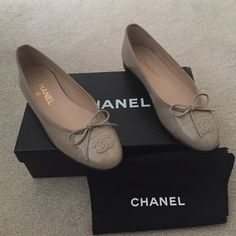 Chanel authentic ballerinas Brand new never been worn Chanel ballerinas! The are patent leather beige. Comes with box and dust bag. Tags still on shoes and box! CHANEL Shoes Flats & Loafers
