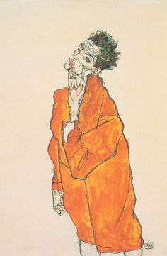 Self-portrait in orange jacket by Egon Schiele, 1913