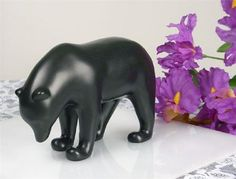 DARK BROWN BEAR WITH HEAD DOWN SCULPTURE STATUE FRANCOIS POMPON FRENCH ART NEW