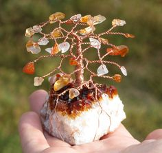 Carnelian and Citrine Cluster Gemstone Tree, Wire Wrapped Copper Decor. $34.00, via Etsy.