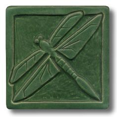 Whistling Frog Tile Company Single Dragonfly 6x6 Tile 608, Artistic Artisan Designer Tiles