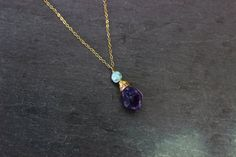 Raw Amethyst Larimar necklace / raw crystal jewelry / gemstone / metaphysical yoga chakra / tribal boho rustic jewelry