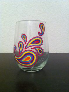 Hand Painted Paisley Wine Glass by ManchesterCreations on Etsy, $12.00