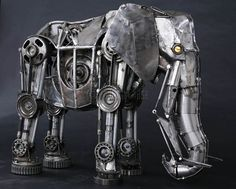 by Andrew Chase - steampunk machine, steampunk sculpture, steampunk elephant - Steampunk pictures Car Part Art, Steampunk Animals, Grandeur Nature, Style Steampunk, Sculpture Metal, Abstract Sculpture, Sculpture Rodin, Sculpture Ideas, Elephant Sculpture