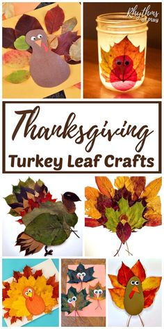Turkey crafts, made with real fall leaves, are Thanksgiving crafts for kids of all ages. It's fun to make Thanksgiving turkey leaf crafts with children! Thanksgiving Crafts For Kids, Thanksgiving Activities, Thanksgiving Decorations, Fall Crafts, Holiday Crafts, Crafts To Make, Holiday Fun, Thanksgiving Holiday, Holiday Parties