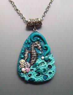 Seahorse Pendant Necklace Polymer Clay and Glass by MandarinMoon