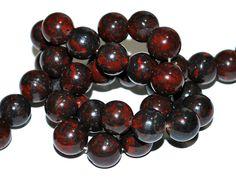 10mm Bloodstone Gemstone Beads - 18 beads by RainandSnowBeading on Etsy