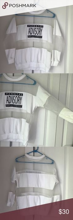"""Vintage 90's Parental Advisory Crewneck Vintage 90's """"parental advisory explicit content"""" crew neck sweat shirt. Some staining on the collar. Mesh is completely see through. No brand or size listed, but it fits like a s/m. Vintage Sweaters Crew & Scoop Necks"""