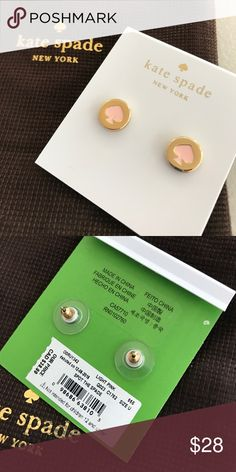 Kate Spade stud earrings Gold circles with pink Kate Spade logos in middle. Stud backings, comes with Kate Spade accessory bag. kate spade Jewelry Earrings