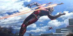 Un concept-art de Captain America 3 Civil War montrant le Captain combattre Giant-Man alias Scott Lang