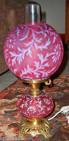 Reserved Fenton Satin Poppy Gone With The Wind Lamp