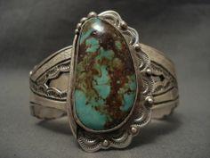 Huge Vintage Navajo Natural Royston Turquoise Silver Bracelet