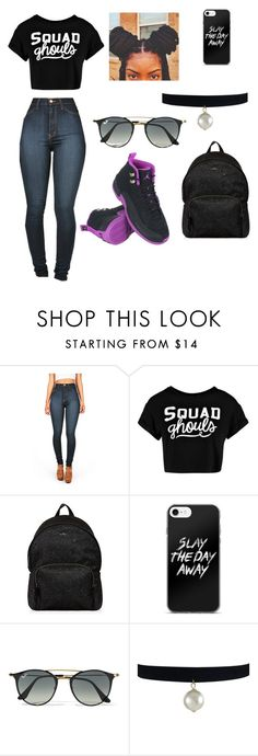 """""""Casual Day Outfit"""" by babiinya ❤ liked on Polyvore featuring NIKE, Vibrant, Boohoo, Hogan and Ray-Ban"""