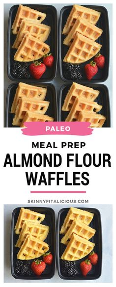 Meal Prep Almond Flour Waffles are Paleo, gluten-free and low-calorie. Perfect for meal prep! #mealprep #almondflour #Paleo #grainfree #waffle #lowcalorie #glutenfree