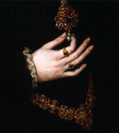 """Detalle de """"Dama del joyel"""",     Moro, Antonio     Hacia 1552"""