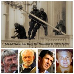 The famous balcony, the men that were there! Military Figures, Military Police, Military Art, Sas Special Forces, British Army Regiments, Marine Commandos, Special Air Service, Sportbikes, Hereford
