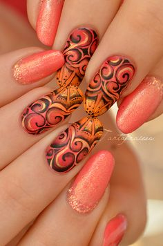 french orange pink designs red designs nail design nails The Best Orange Nail art ideas Nail Art Ombré, Swirl Nail Art, Crazy Nail Art, Crazy Nails, Nail Arts, Cool Nail Art, Nail Art Orange, Orange Nails, Nail Art Designs