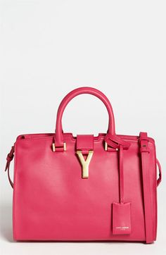 Saint Laurent pink leather tote.
