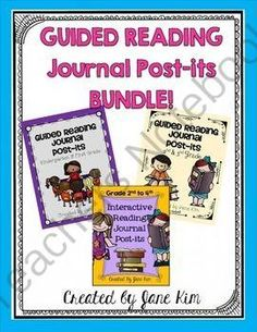 GUIDED READING JOURNAL POST-ITS BUNDLE: Kindergarten to 4th Grade from Kim'sCreations on TeachersNotebook.com -  (64 pages)  - Guided Reading Journal Post-its Bundle, Interactive post-its
