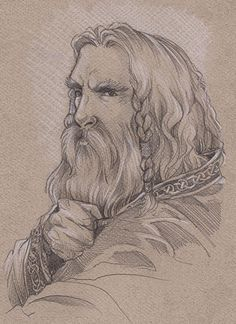 Thorin Oakenshield by Gold-Seven.deviantart.com>>Pencil and white pastel on pastel paper.  I've got to give this media combination a try someday.  Oh, and it's a fantastic depiction of Thorin too.  :-)