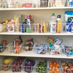 Organizing Tip: to easily organize a pantry, use open style baskets with tall sides, then categorize like items with like items. Labeling optional.