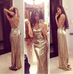 Gold Sequins Sheath Mermaid Long Prom Dresses,Evening Dresses #SIMIBridal #promdresses