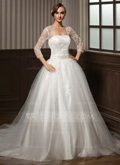 Ball-Gown Sweetheart Chapel Train Satin Tulle Wedding Dress With Lace Beading Sequins (002008173) - JJsHouse