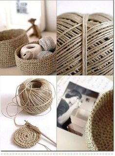 Hottest Free Crochet basket twine Ideas Great use to get rid of all my hemp. Crochet Shoes Pattern, Crochet Basket Pattern, Crochet Patterns, Sewing Patterns, Crochet Diy, Crochet Home Decor, Crochet Storage, Crochet Rope, Basket Weave Crochet