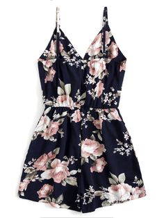 Navy Overall Floral Print Random Cami Straps V-Neck Sleeveless Romper College Outfits, New Outfits, Summer Outfits, Floral Jumpsuit, Floral Romper, Cute Summer Dresses, Pretty Dresses, Meeting Outfit, Cute Casual Outfits