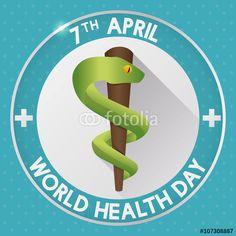 Vector: World Health Day Button with Medicine Symbol, Vector Illustration