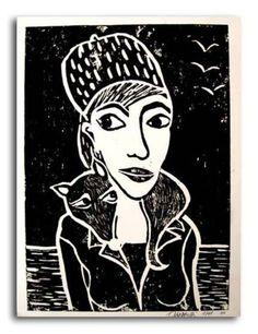Originaldruck - Linolschnitt - Aurelia mit Fuchs - ein Designerstück von ToniaW bei DaWanda