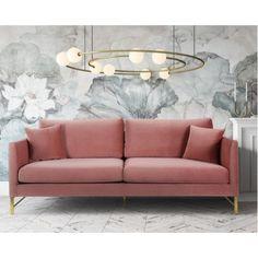 Rose Dusty Pink Velvet Sofa Gold Legs is part of Living Room Sofa Pink - Pink Velvet Sofa, Pink Couch, Home Design, Interior Design, Rosa Couch, Blush Sofa, Velvet Furniture, Sofa Inspiration, Sofa Legs