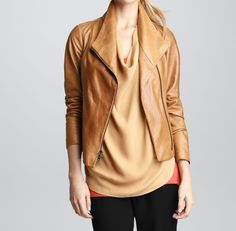 This Audrey leather jacket boasts vintage inspiration with its tan, go-with-everything hue.
