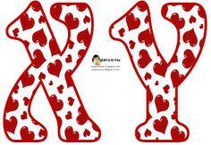 Alfabeto relleno con corazones rojos. | Oh my Alfabetos!