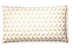 One Kings Lane - Spring Forward - Aviary 14x24 Cotton Pillow, Gold/Ivory