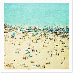Oversized Art, Large Art Decorative Photography - Aerial Beach Photography Coney Island Beach Landscape - Summer Photography. Large Beach Photography.