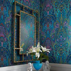 Damask Dangereuse by Laurence Llewelyn-Bowen - Blue - Wallpaper : Wallpaper Direct