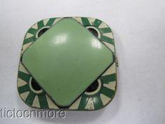 Antique Art Deco Celma Loospact Green Enamel Mirror Powder Compact | eBay