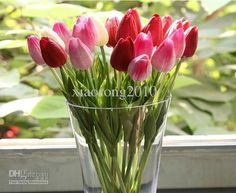 Wholesale Calla Lily - Buy 20p MIXED Color 34cm PU Latex Real Touch Artificial Simulation Tulip Flower Wedding Bridal's Bouquet, $1.48 | DHgate