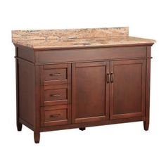 Ashburn 49 in. W x 22 in. D Vanity in Mahogany and Vanity Top with Stone effects in Bordeaux-ASGASEB4922D at The Home Depot