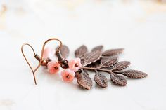 Leaf Branch Earrings Copper Brown Leaves Peach Pink Flowers Chocolate Brown Nature Leaf Jewelry - E237 on Etsy, $25.00