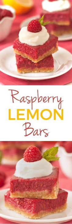 Raspberry Lemon Bars – 100% whole grain and honey-sweetened (but can also be made with all-purpose flour)