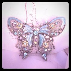 Vintage Blue Butterfly Brooch