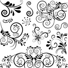 Black floral ornament pattern vector free