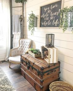 ✔ 78 rustic farmhouse living room design and decor ideas for your home 33 Country Farmhouse Decor, Farmhouse Style Kitchen, Rustic Decor, Farmhouse Ideas, Vintage Decor, Vintage Farmhouse Decor, Cottage Farmhouse, Farmhouse Interior, Farmhouse Living Rooms
