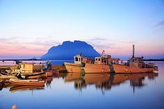 Port, Loiri Porto San Paolo and, On the background, Tavolara island, Sardinia, Italy, Mediterranean, Europe - 746-48872